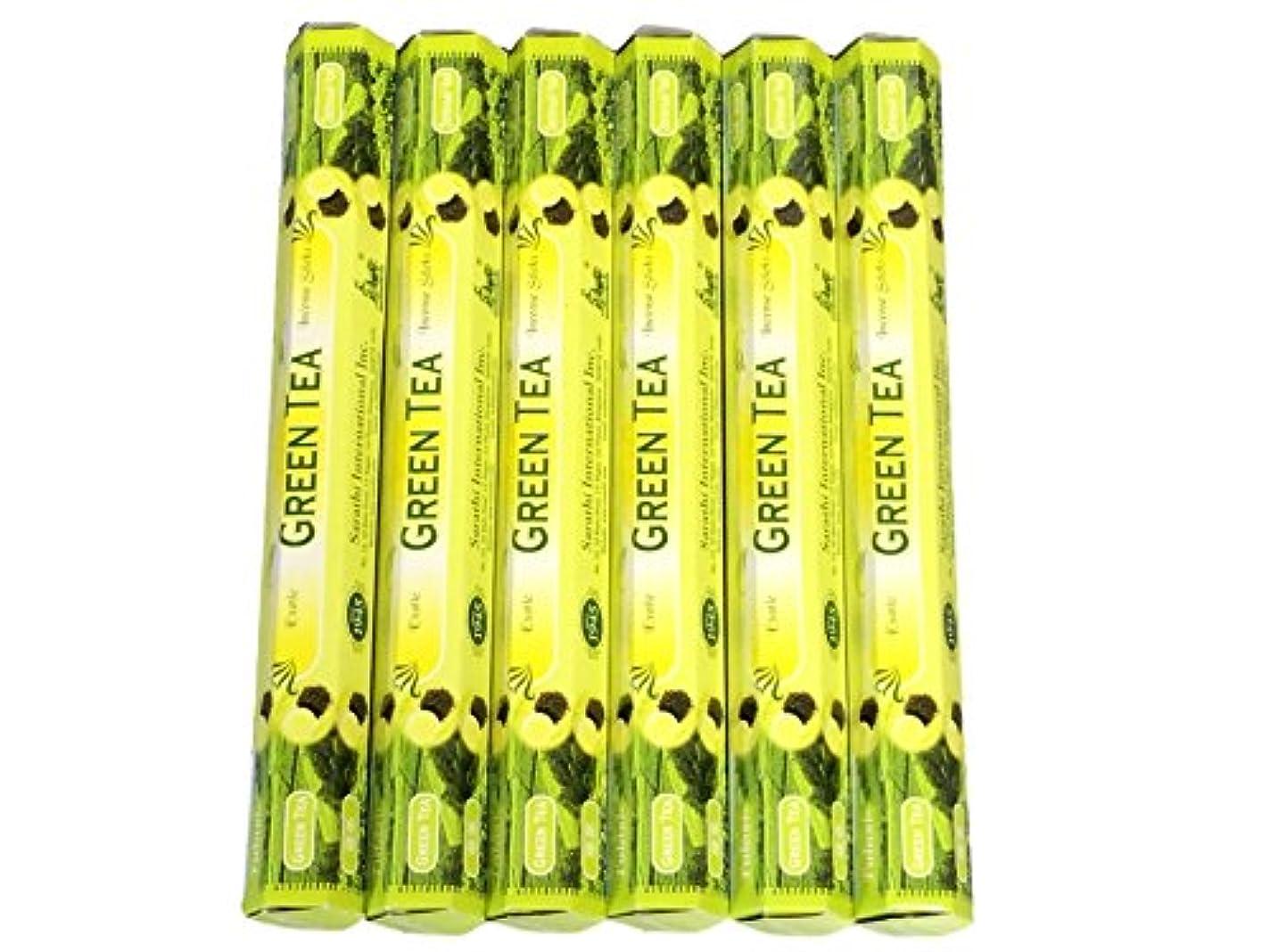 飛び込むこねる同情的Tulasi グリーンティー(GREEN TEA)香 スティック 6角(20本入り)×6箱 HEXAPACK