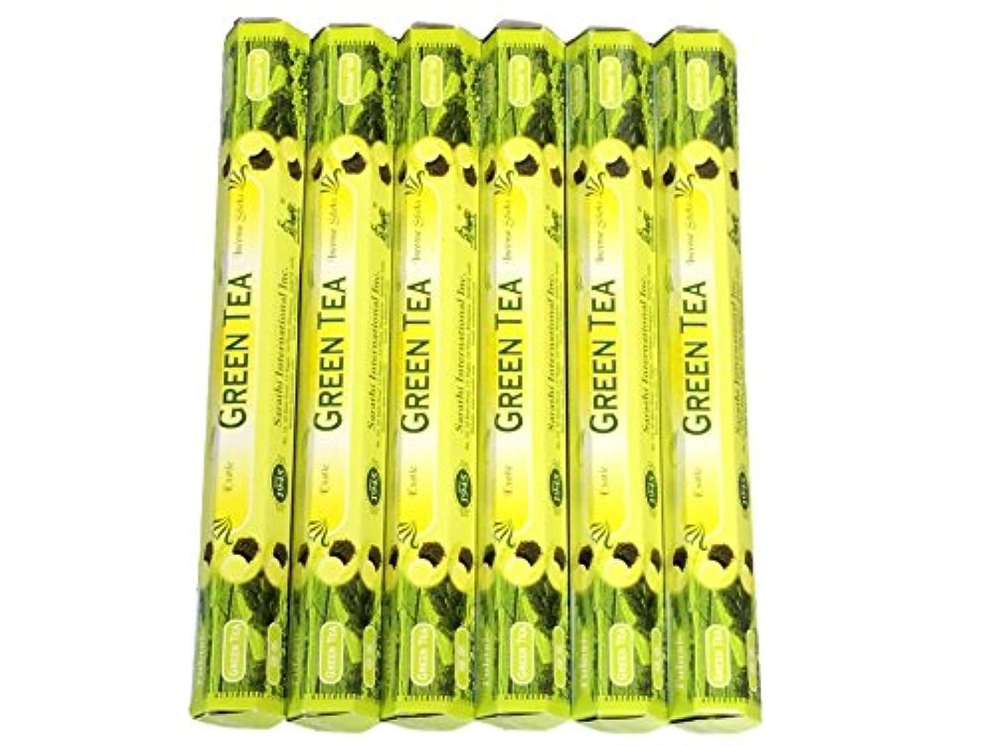 ウサギ寸前セメントTulasi グリーンティー(GREEN TEA)香 スティック 6角(20本入り)×6箱 HEXAPACK