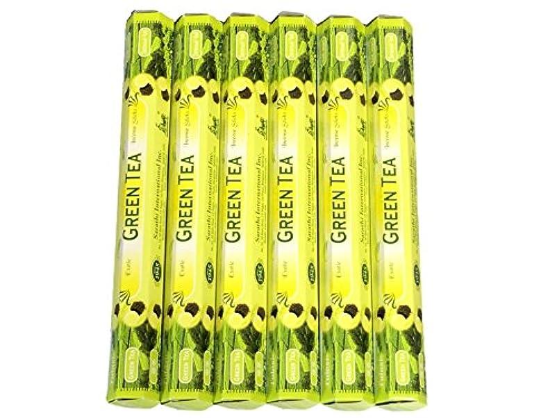 突き刺すに付ける予言するTulasi グリーンティー(GREEN TEA)香 スティック 6角(20本入り)×6箱 HEXAPACK
