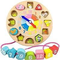 DH.SR 木製 知育時計 遊んで学ぶ 積み木 時計 形合わせ はめ込み ブロック 木のぬくもり