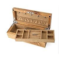 レトロ木製ジュエリーボックス、ジュエリーネックレスブレスレット収納ボックスオーガナイザーケース&ロックバースデーギフト,A
