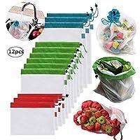 再利用可能な野菜バッグ メッシュバッグ 食料品の買い物や果物や野菜や庭の野菜の保存に 環境に優しいネットバッグ (12個)