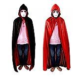 F-POWER 吸血鬼 コースプレー 仮装 リバーシブル 黒&赤 ロング マント 吸血鬼 ドラキュラ コスプレ パーティー 必需品 大人 子供用