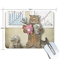 マウスパッド 貯金箱と金持ち猫 ゲーミングマウスパッド 滑り止め 19 X 25 厚い 耐久性に優れ おしゃれ