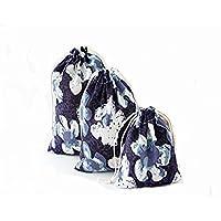 【ガ アダギョウ】 巾着 袋 ( 大 中 小)和柄 コットン おしゃれ 布 きんちゃく 小物 雑貨 白い花 mini巾着袋(無地)一枚付き 4セット