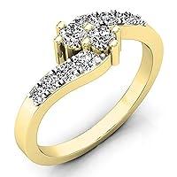 0.50カラットCTW18Kゴールドラウンドホワイトダイヤモンドレディース2つストーンバイパスブライダル婚約リング1/ 2ct