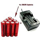 AC充電器 + 4本セット 3000mAh 18650 3.7V 充電式リチウムイオン電池 戦術懐中電灯 電池,充電池 保護回路付き;[バッテリーは電子タバコを適用しません]