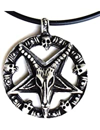 BigバフォメットGoat Laveyan Inverted Star Pentacle Satanic DevilピューターペンダントW PVCコード