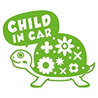 imoninn CHILD in car ステッカー 【シンプル版】 No.53 カメさん (黄緑色)