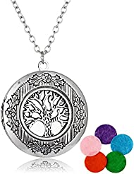 linsh Aromatherapy Essential Oil DiffuserネックレスヴィンテージCarved Tree of Life Locketペンダント