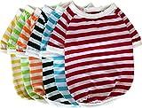 カジュアルボーダーTシャツ 全6色5サイズ 【jym wanpson(ジム・ワンプソン)】 春夏用 爽やかで涼しげなボ-ダーTシャツ 犬 ペット服 小型犬 中型犬 (L, 黄)