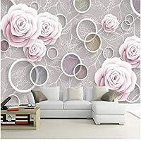Xbwy ステレオスコピックサークルロマンチックローズフラワーパターン壁画壁紙リビングルームテレビ背景がある家の装飾-120X100Cm