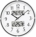 掛け時計 電波時計 温度計 湿度計付き フィットウェーブリブ 白 リズム時計 4FYA07SR03