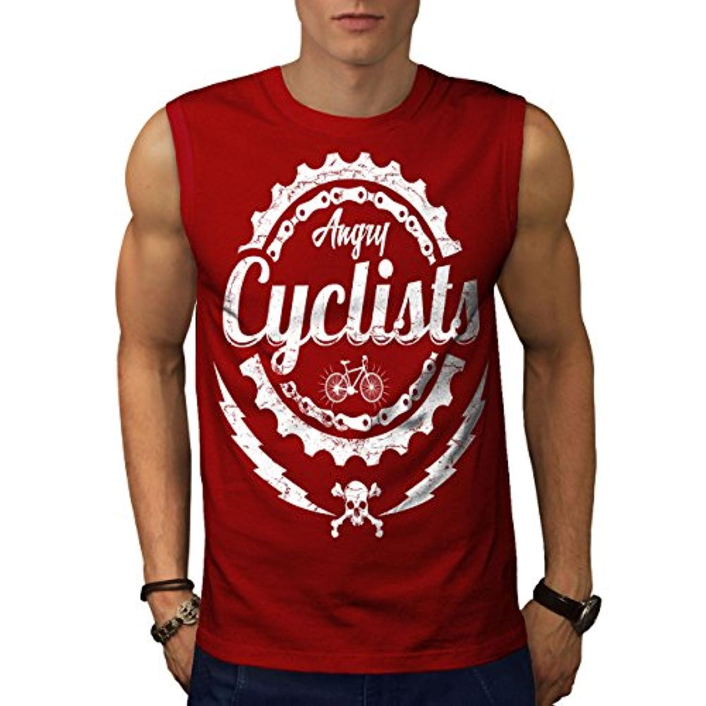 Wellcoda 怒りました サイクリスト クール スローガン 男性用 S-5XL 袖なしTシャツ