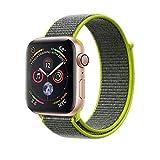 METEQI バンド 対応 Apple Watch、フックファスナー付き新しいナイロンスポーツループバンドストラップ交換バンドアップルウォッチシリーズ 適応 iWatch Series 5/4/3/2/1 (42mm/44mm, フラッシュ)