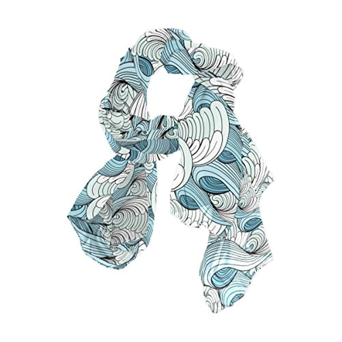 住むパワー劣るマキク(MAKIKU)レディース 柔かなストール ショール スカーフ 海 水 波 津波 美しい ブルー シフォン 優しい肌触り 羽織り 大判 薄手 華麗 パーティーストール ロング オフィススカーフ 90×180cm
