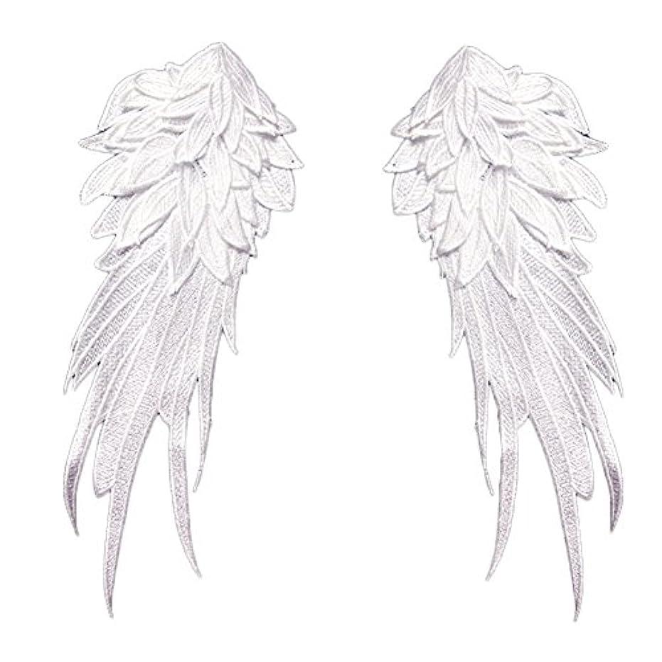 ペルー結婚式カトリック教徒(デイリー スウィート) Daily Sweet  縫製品 飾り素材 刺繍 アップリケ 裁縫タイプ オシャレ 立体 天使の翼 2枚セット (L, 白)