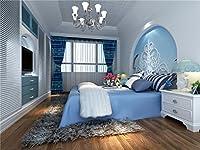 ベッドルーム木製床ブルーベッド写真背景computer-printedビニールBackdrops 75ft