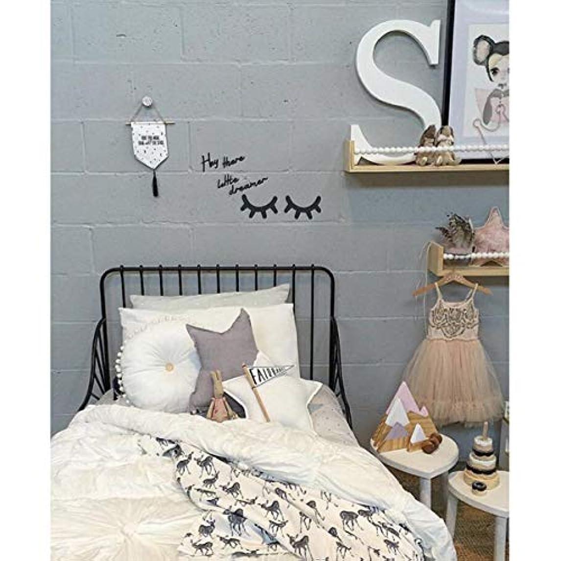ランデブー然とした過激派Vosarea キラキラ木製まつげパターンウォールステッカー用キッズパーティー寝室の背景部屋の装飾diyまつげパターンウォールステッカーブラック