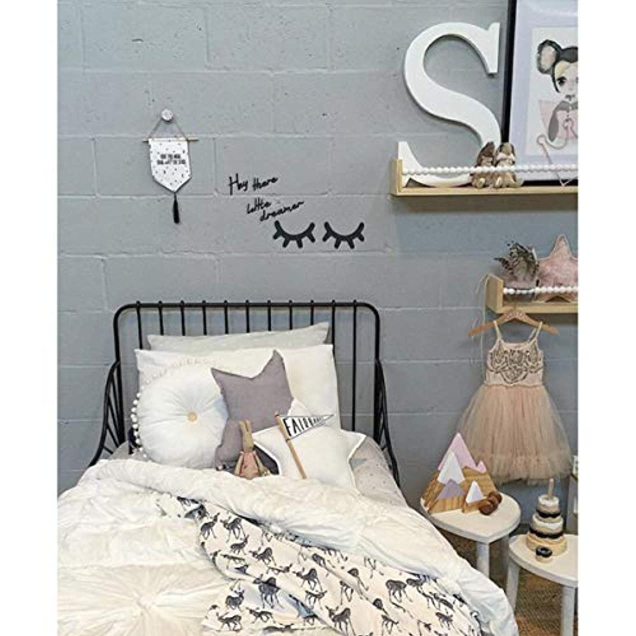 うそつき繁栄するシンポジウムVosarea キラキラ木製まつげパターンウォールステッカー用キッズパーティー寝室の背景部屋の装飾diyまつげパターンウォールステッカーブラック