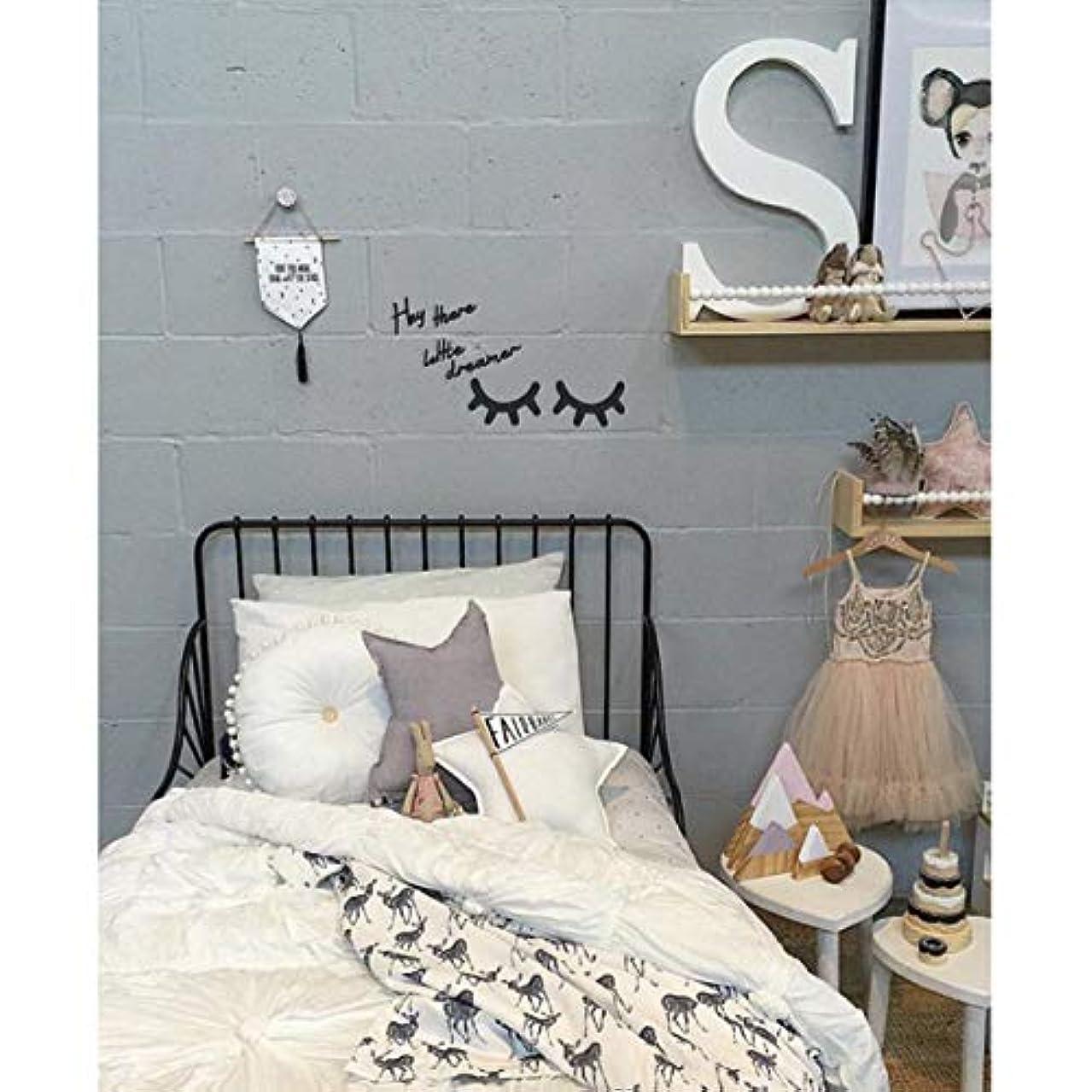 揺れるメンター気がついてVosarea キラキラ木製まつげパターンウォールステッカー用キッズパーティー寝室の背景部屋の装飾diyまつげパターンウォールステッカーブラック