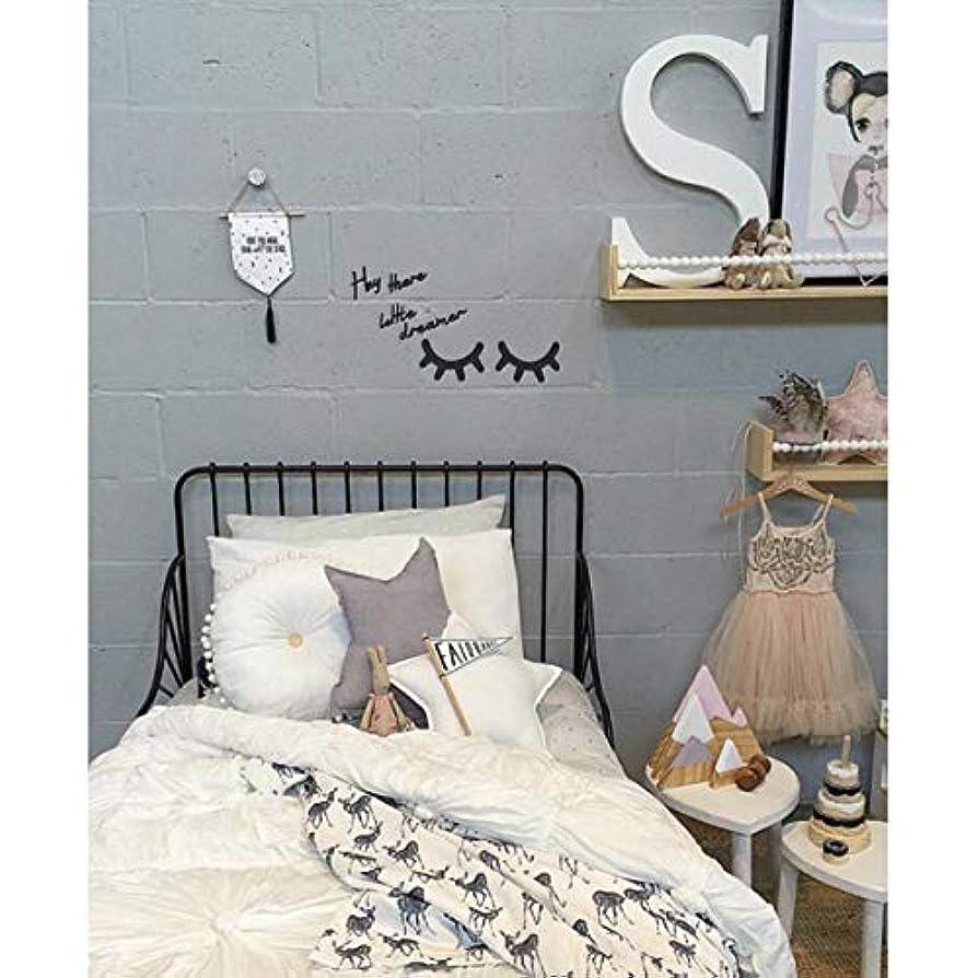 コットン膜亡命Vosarea キラキラ木製まつげパターンウォールステッカー用キッズパーティー寝室の背景部屋の装飾diyまつげパターンウォールステッカーブラック