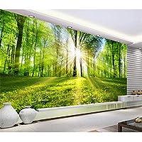 Ansyny カスタム壁画壁紙リビングルームの3D写真の壁紙太陽の光の森の風景写真のソファテレビの背景の壁の不織布の壁紙-300X200CM