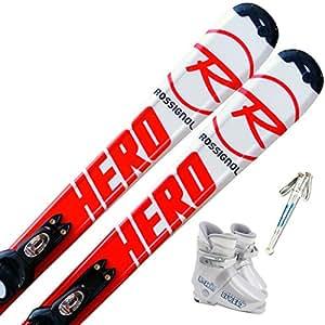 ロシニョール (ROSSIGNOL) 4点セット ジュニアスキー HERO 120cm ストック95cm ブーツ18cm
