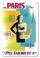 22cm x 30cmヴィンテージハワイアンティンサイン - パリ、フランス - パン・アメリカン航空(PAA) - エッフェル塔、ノートルダム - ビンテージな航空会社のポスター によって作成された ジャン・カルリュ c.1950s