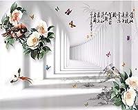 壁画の壁紙3D中国の花と鳥の数字の風景画ステレオテレビの背景の壁の絵画3Dの壁紙の装飾的な絵画