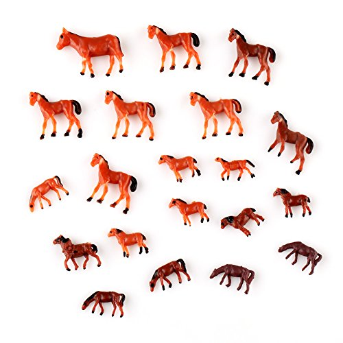 馬模型 ウマ模型  1/150用 20頭セット   乗馬クラブ 牧場 馬場のウマ形モデル  レイアウト・ジオラマ・建築模型・DIY