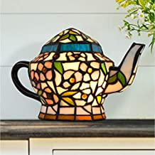 Home Lavish Teapot Lamp-Tiffany Style Stained Glass Table or Desk Light LED Bulb Included-Vintage Look Colorful Accent Decor Office