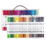筆ペン カラー筆ペン 48色セット 両端ペン先 筆ペンカラー 水彩ペン 水彩毛筆 水性筆ペン 絵描き 塗り絵用