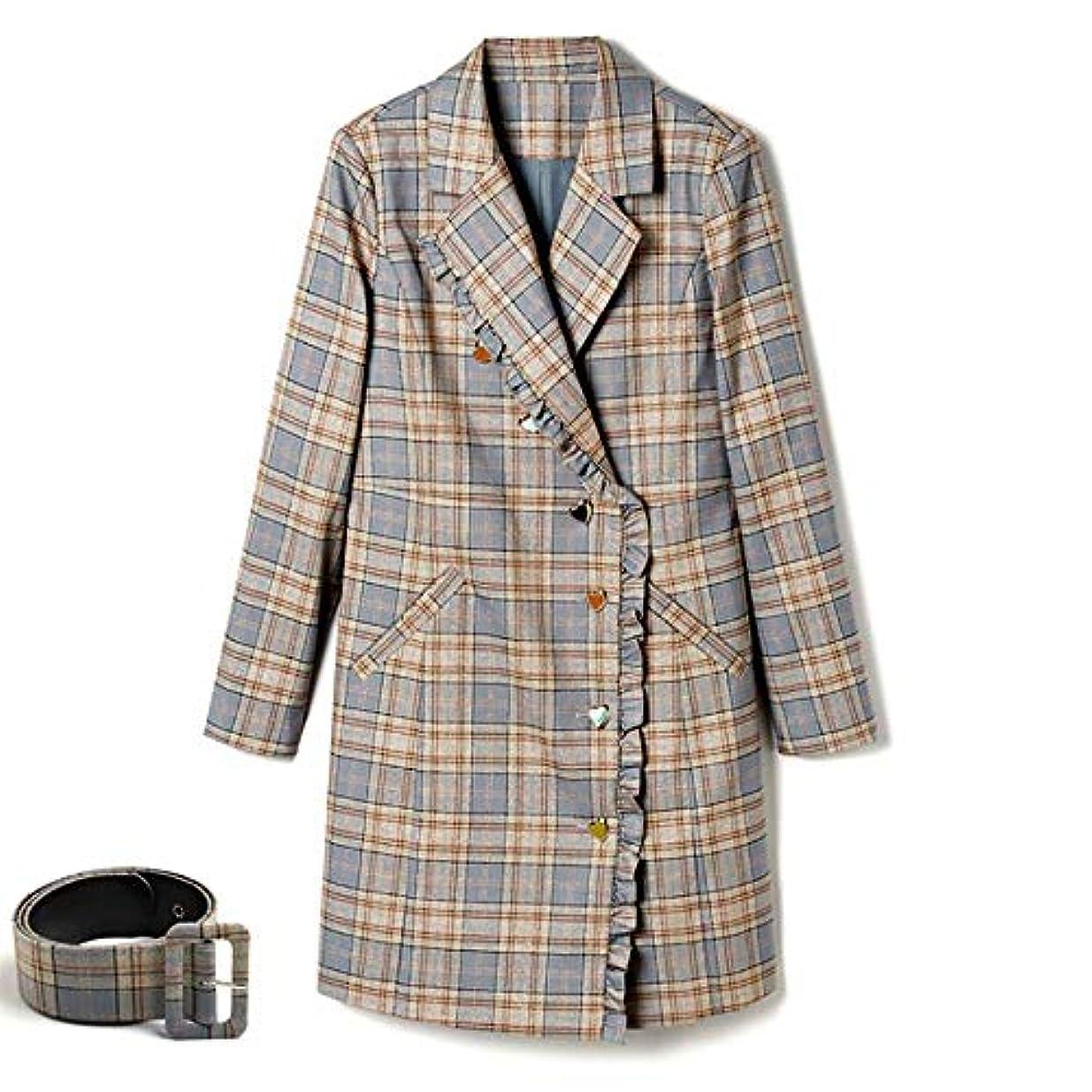 代表屋内正しく秋の女性のコート、新しいウインドブレーカージャケットラペルベルトロングコートウエストジャケット薄いコートレディースコートレディースウインドブレーカージャケット,M