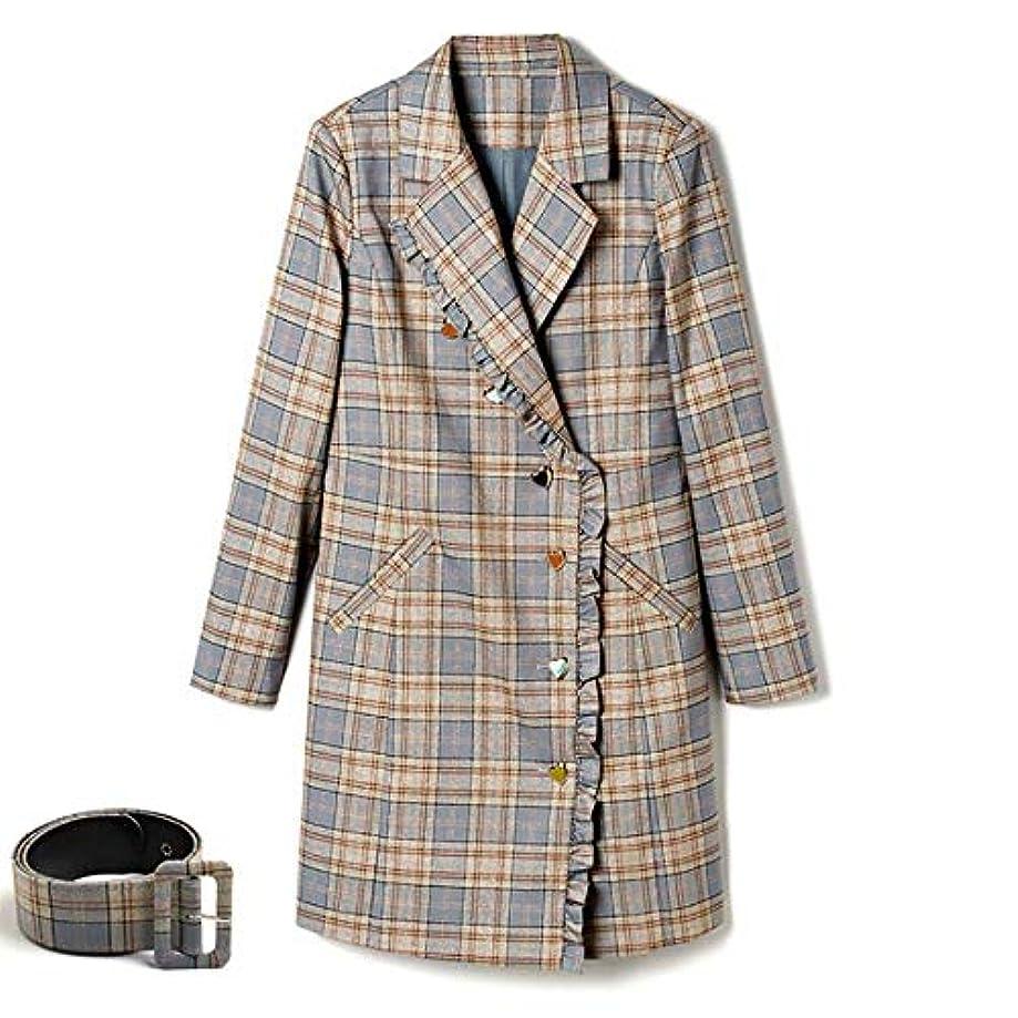 仮定、想定。推測パッケージ時刻表秋の女性のコート、新しいウインドブレーカージャケットラペルベルトロングコートウエストジャケット薄いコートレディースコートレディースウインドブレーカージャケット,M