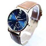 ZooooM 腕 時計 LUMINOUS WATCH クロノグラフ ラウンド デザイン アナログ フェイク レザー ベルト ファッション アクセサリー フォーマル カジュアル ビジネス メンズ 男性 ( ブルー ) ZM-CLWC364-BL