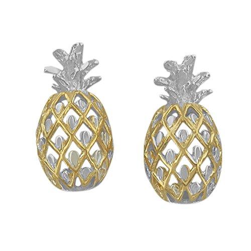 Hawaiian Silver Jewelry パイナップル スタッドピアス イエローゴールド トーン シルバー925 ハワイアン シルバー ジュエリー [正規品]