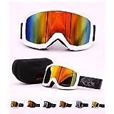 UNIQFUN(ユニクファン) ゴーグル スノーボード スキー ミラーレンズ ダブルレンズ 曇り止め 滑り止め UVカット メンズ レディース ケース付 メガネ併用 眼鏡対応