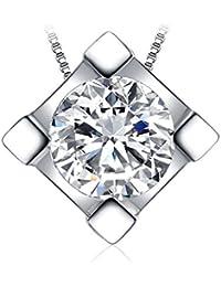JewelryPalace 0.6ct キュービック ジルコニア CZ ネックレス ペンダント ソリティア スターリング シルバー925 チェーン 45cm