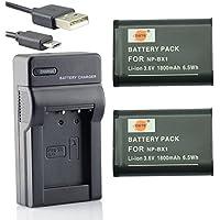 DSTE® アクセサリーキット NP-BX1 互換 カメラ バッテリー 2個+USB充電器キット対応機種 Cyber-shot DSC-RX1 RX1R RX100 II III HX50V HX90V HX300 WX300 WX500 HDR-GWP88V GW66V CX240 AS15 AS50 DSC-RX1RM2