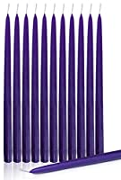 (Purple) - Dripless Taper Candles 38cm Inch Tall Wedding Dinner Candle Set Of 12 (PURPLE)