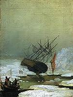 手描き-キャンバスの油絵 - Wreck By The Sea ロマンチック 船 Caspar David Friedrich 芸術 作品 洋画 ウォールアートデコレーション -サイズ02