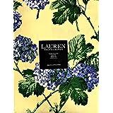 Ralph Lauren 春/夏 青紫陽花 黄色いテーブルクロス 60インチ x 84インチ コットン100%