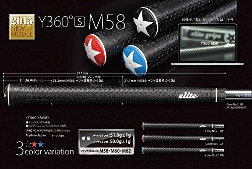 elitegrips(エリートグリップ) ゴルフグリップ  Y360°s M58 ブラック レッド バックライン有り Color No5 CR