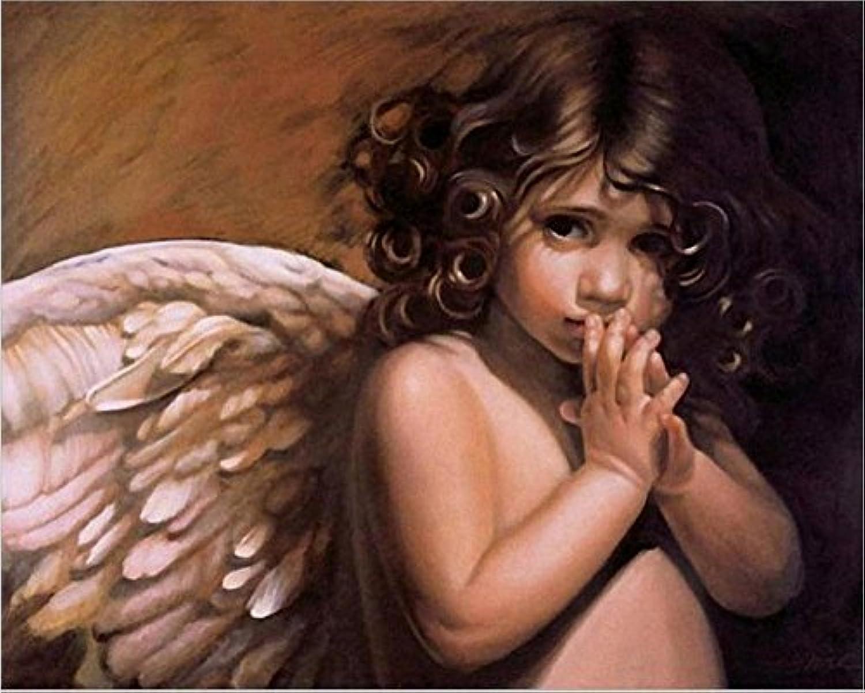 Fairy angel-diy絵画DIY油絵16 x 20 cmフレームペイントby NumberキットUniqueギフト天使の翼 Without wood frame 4174112