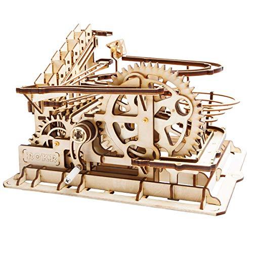 Robotime コースター 水車 3D立体パズル ギア 手回し レーザー 木製 クラフト キット プレゼント (水車)