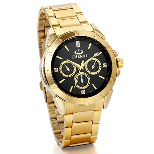 JewelryWe 上品 高級感 メンズ ウオッチ 腕時計 クーオツ 文字盤 アナログ表示 金色 ビジネス カジュアル