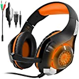 GM-1 New Xbox One s PS4 Pro Headphones for PC Tablet Cellphone,AFUNTA Stereo LED Backlit Gaming Headset with Mic-Orange