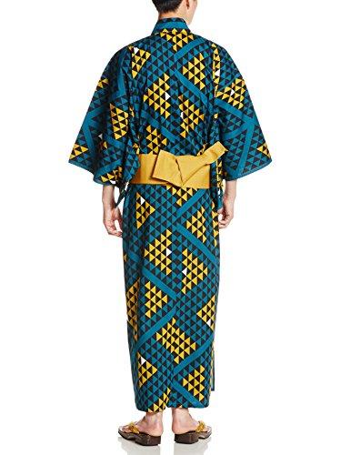 (マニフィーク)MAGNIFIQUE(マニフィーク) メンズ国産浴衣3点セット(浴衣、帯、下駄) 鱗 MNF-0001 ブルー M