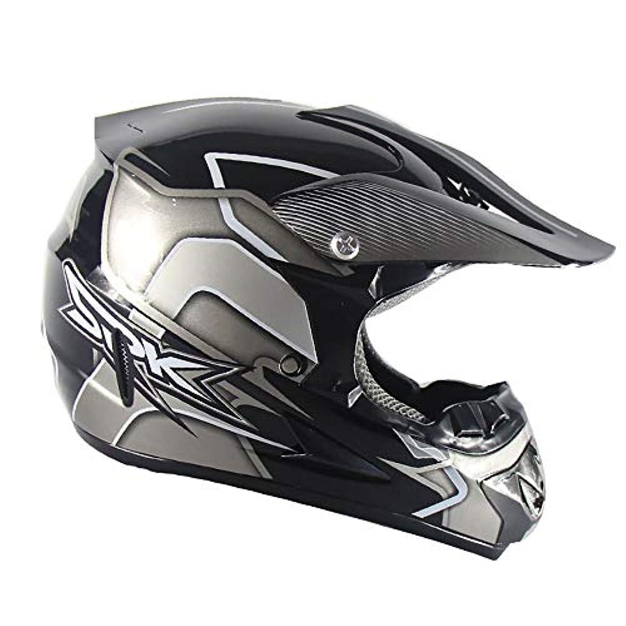影響力のある無線姓TOMSSL高品質 オフロードマウンテンフルフェイスオートバイヘルメットクラシック自転車レーシングヘルメットオートバイクロスカントリーマウンテンバイクヘルメットレッド/シルバー (色 : Silver, Size : L)